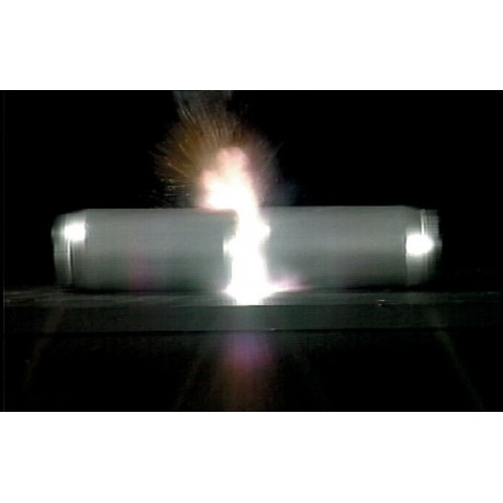 Conservation of momentum demonstrated by internal explosion.