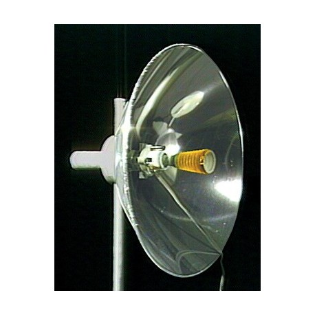 Parabolic mirror focuses infrared radiation emitted from electric element.