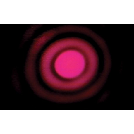Diffraction pattern produced by laser light passing through a circular aperture.